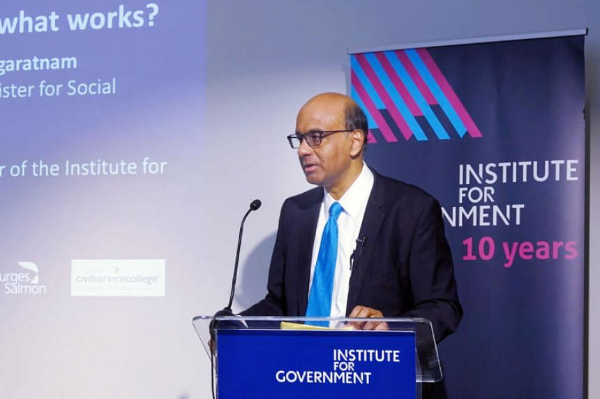 Senior Minister Tharman Shanmugaratnam speaking at British think-tank Institute for Government's 10th anniversary conference in London on June 12, 2019.