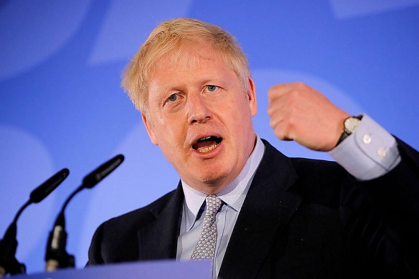 """Mr Boris Johnson speaking at his Conservative Party leadership campaign launch in London yesterday. His team will """"hit the ground running"""" and get the deal the country needs from Brussels, he said."""