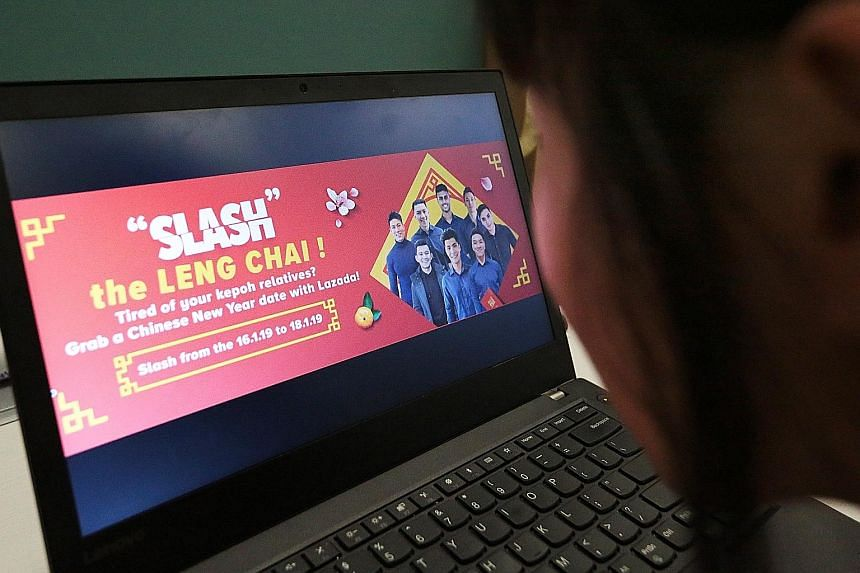 E-commerce leaders Lazada, which ran a bid-for-a-boyfriend campaign (left) during Chinese New Year, and Shopee, which customises its websites for countries it operates in, have similar products and so count on marketing campaigns and loyalty programm