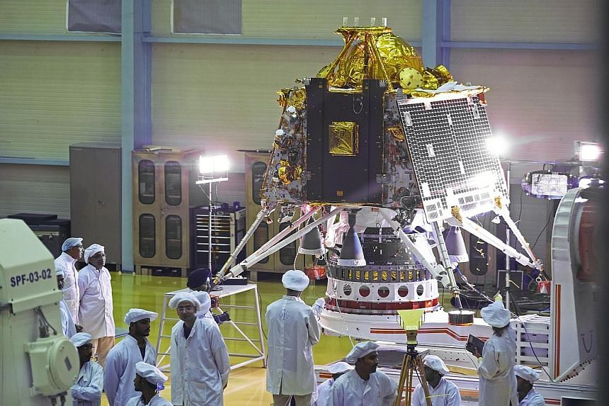 The Chandrayaan-2 spacecraft's lander module at the Indian Space Research Organisation (ISRO) Satellite Integration and Test Establishment in Bengaluru yesterday. The mission is scheduled to launch on July 15 aboard the Geosynchronous Satellite Launc