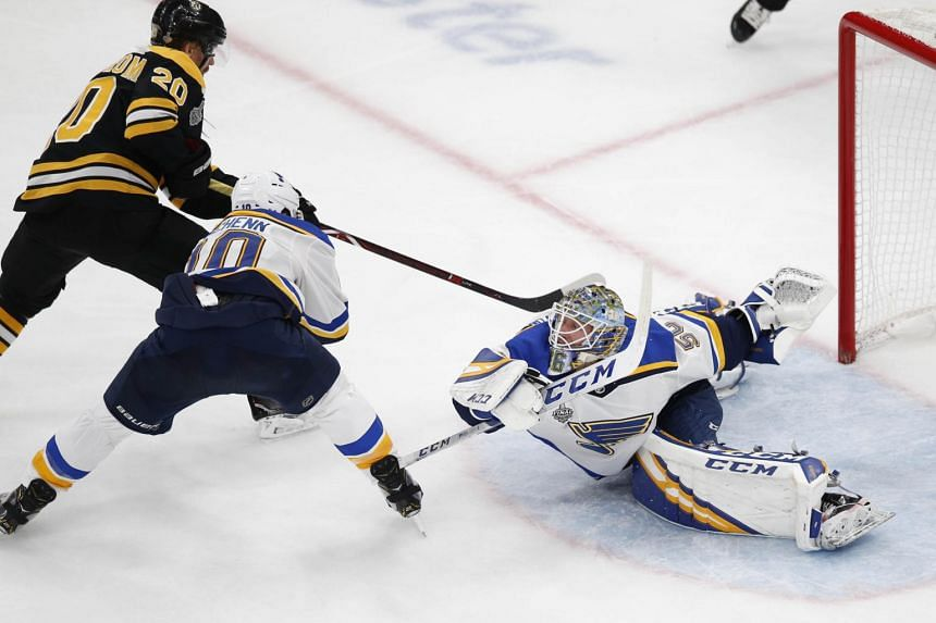 St. Louis Blues goaltender Jordan Binnington making a save during the game against the Boston Bruins at the 2019 Stanley Cup Final.