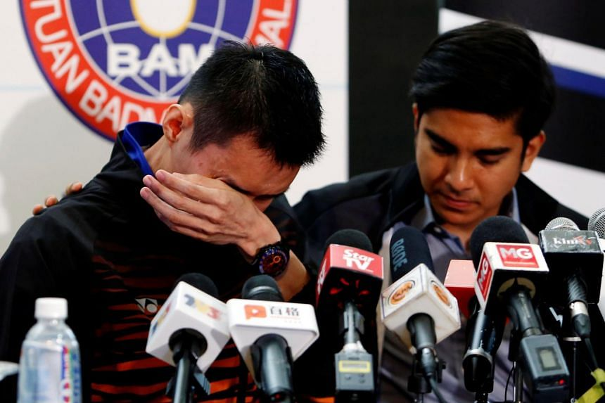 Malaysian badminton player Lee Chong Wei reacts during a news conference to announce his retirement in Putrajaya, on June 13, 2019.