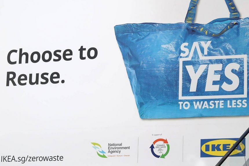 A poster of the Say Yes to Waste Less campaign at Ikea Tampines.