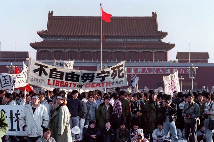 Students and people gathered at Tiananmen Square as part of a protest in Beijing, on May 14, 1989.