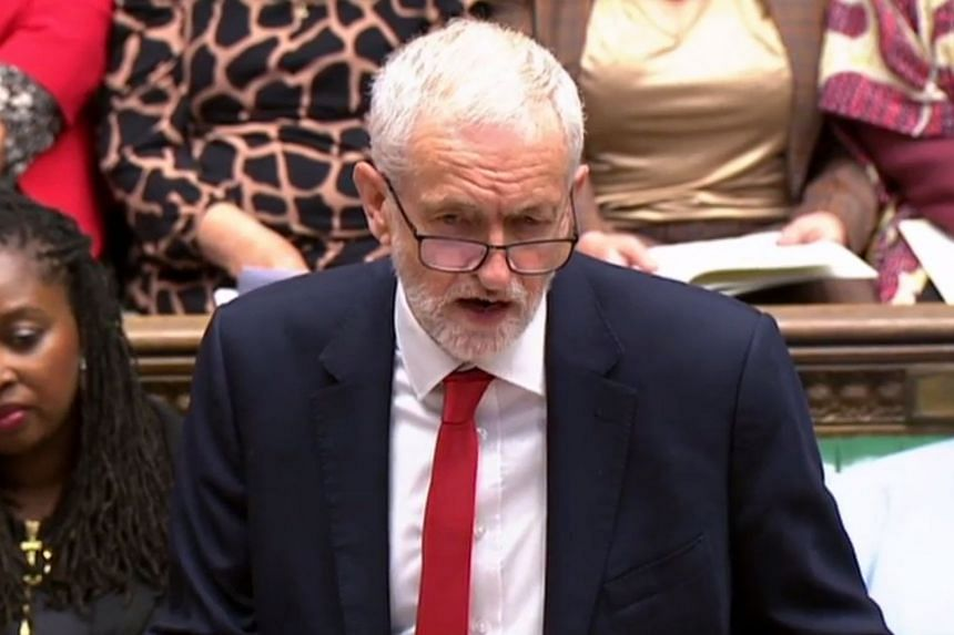 Britain's opposition Labour Party leader Jeremy Corbyn speaking in Parliament on June 12, 2019.