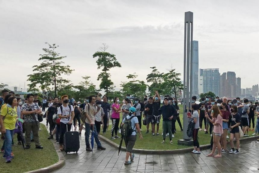 More than a hundred protesters were seen at Tamar Park next to the Legislative Council in Admiralty, Hong Kong on June 13, 2019.