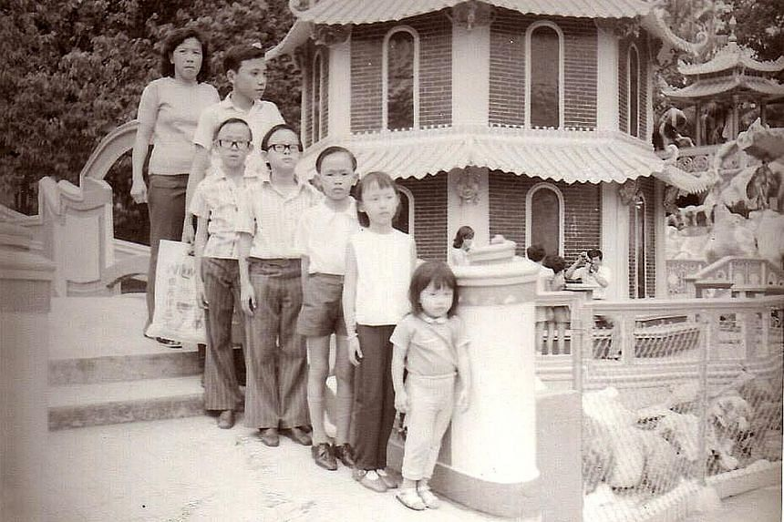 Photographer Deanna Ng re-creating a 1980 photo (far left) of herself taken at Haw Par Villa.
