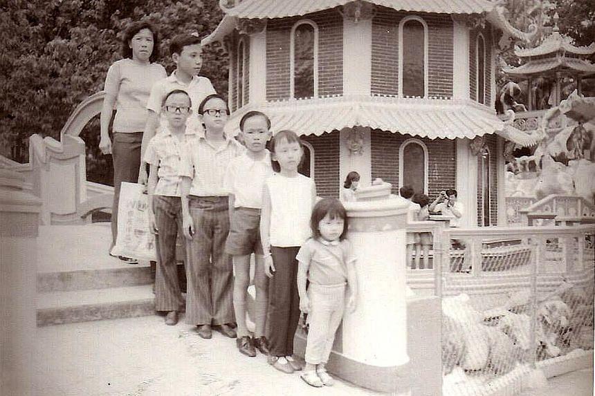 Photographer Deanna Ng re-creating a 1980 photo (far left) of herself taken at Haw Par Villa.