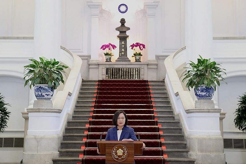 Taiwan's President Tsai Ing-wen at a press briefing in Taipei yesterday. She is aiming to avoid becoming Taiwan's first one-term president when the island goes to the polls in January. PHOTO: EPA-EFE