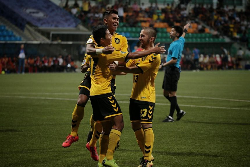 Tampines Rovers' (from left) Irwan Shah celebrates with Khairul Amri and Zehrudin Mehmedovic after scoring against Cambodian club Nagaworld during their AFC Cup Group F match at Jalan Besar Stadium on April 17, 2019.