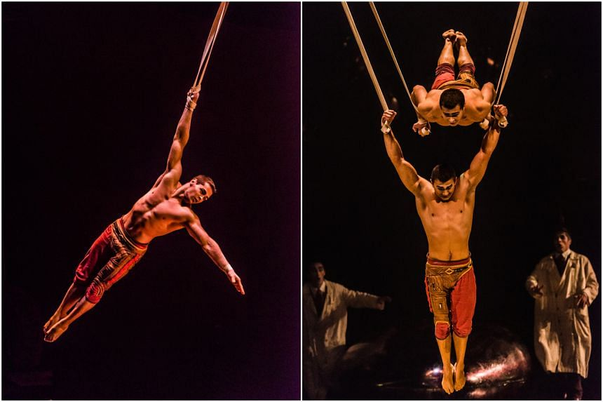 Brothers Roman and Vitali Tomanov soar to impressive heights in their flawless and perfectly synchronised Aerial Straps act.
