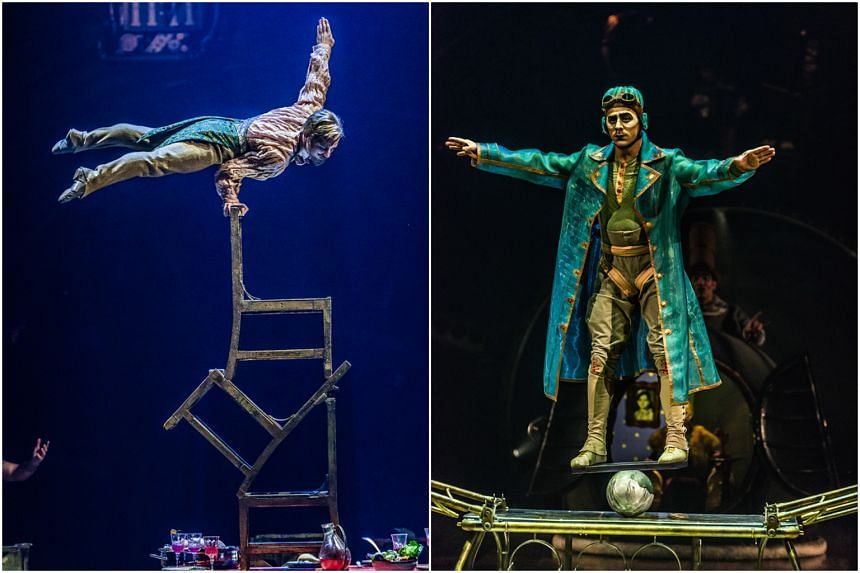 The Upside Down World is no ordinary chair-balancing performance, and the Rola Bola takes the stunt of balancing cylinders and planks to, quite literally, thrilling new heights.