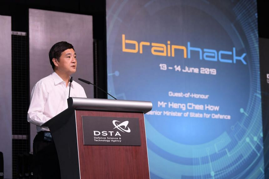 Senior Minister of State for Defence Heng Chee How delivers a keynote address at the BrainHack award ceremony on June 14, 2019.