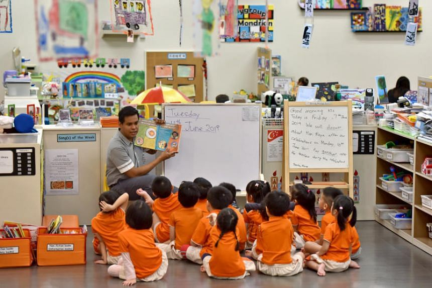 Early childhood educator Kumaran Karapaya is one of 150 male pre-school teachers, who make up less than 1 per cent of all pre-school teachers here.