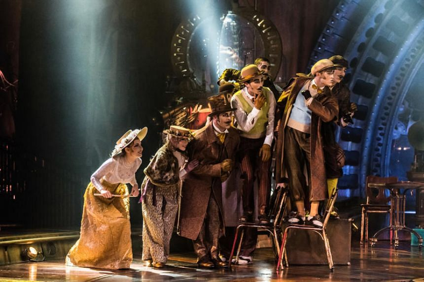 The Curiosistanians, inhabitants of an imaginary country called Curiosistan who turn up in The Seeker's world to ignite his imagination, in Cirque du Soleil's whimsical steampunk-themed Kurios - Cabinet of Curiosities.