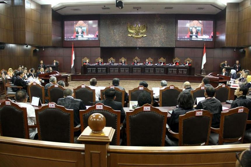 Indonesia's top court hears ex-general Prabowo Subianto's claim that the 2019 presidential election was rigged, in Jakarta on June 14, 2019.