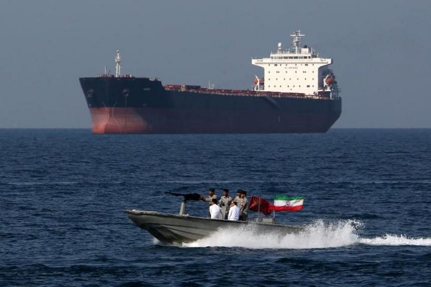 Iranian soldiers take part in the National Persian Gulf day in the Strait of Hormuz on April 30, 2019.