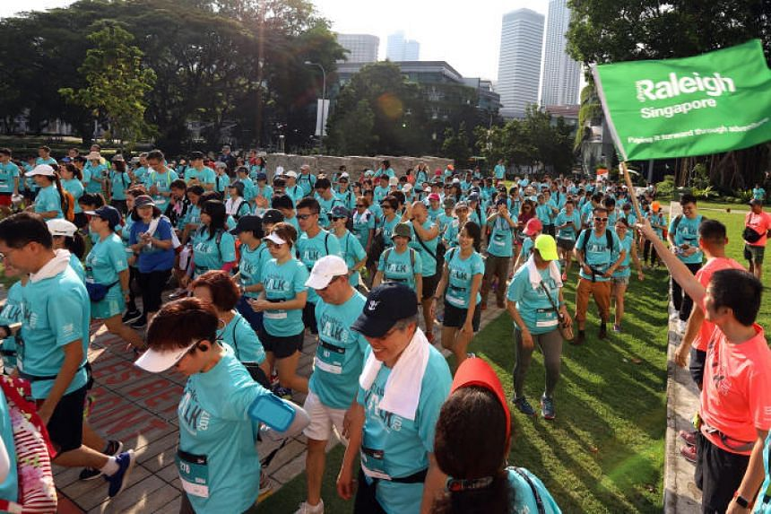 The Let's Take a Walk event in 2017, where a total of 1,453 participants walked 10km, 50km or 100km each in a bid to raise funds for Caregivers Alliance and Raleigh Singapore.