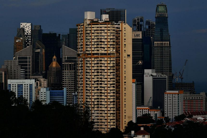 Pearl Bank Apartments against the CBD skyline in the evening on May 11, 2019.
