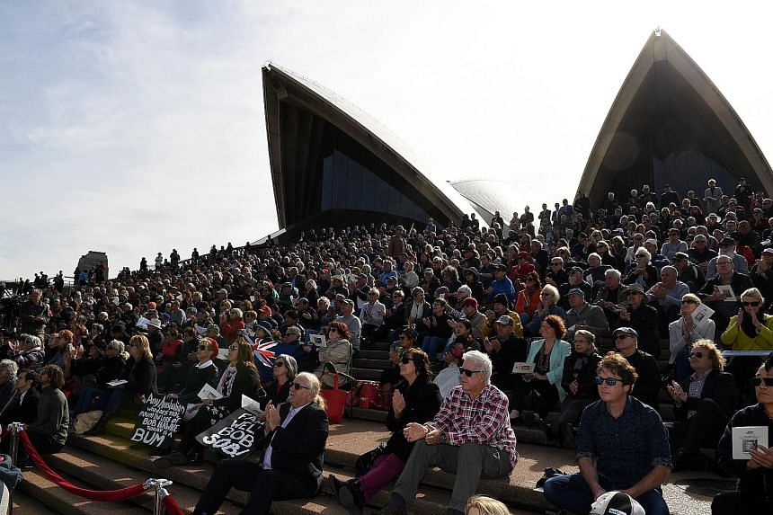 Thousands of Australians watching the state memorial service for former prime minister Bob Hawke from the steps of the iconic Sydney Opera House yesterday. Mr Hawke, who died last month at the age of 89, served as Australia's prime minister from 1983