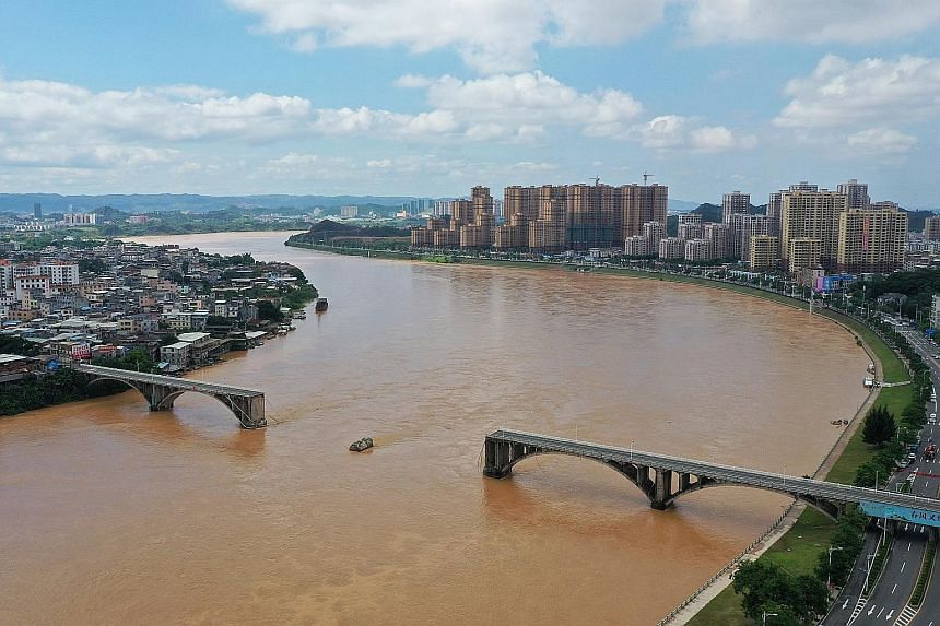 In Guangdong province, at least two vehicles plunged into the Dongjiang River after part of a bridge collapsed in the urban area of Heyuan city early yesterday, according to the local authorities. A herd of cattle stranded by floodwaters on Wednesday