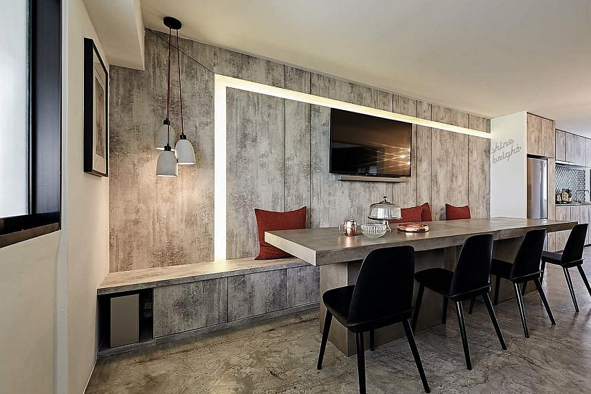 The home owners bought two concrete tables from home-grown furniture store Castlery and joined them to make one long dining table - perfect for hosting guests.