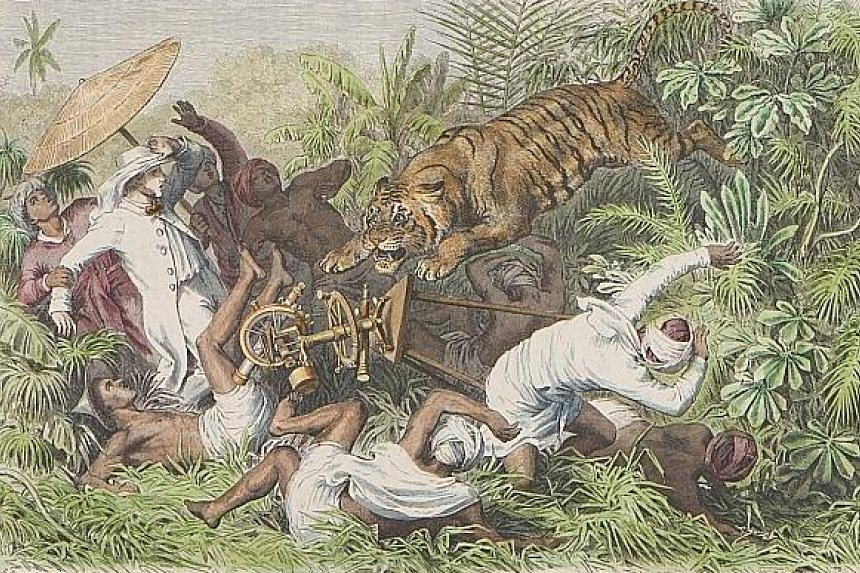 Heinrich Leutemann's wood engraving, De Tigernood Te Singapore, circa 1865, depicts an 1835 incident in Serangoon involving a tiger. The original Tiger Hill in Singapore was named after this incident. A mountain of the same name in Otago, New Zealand