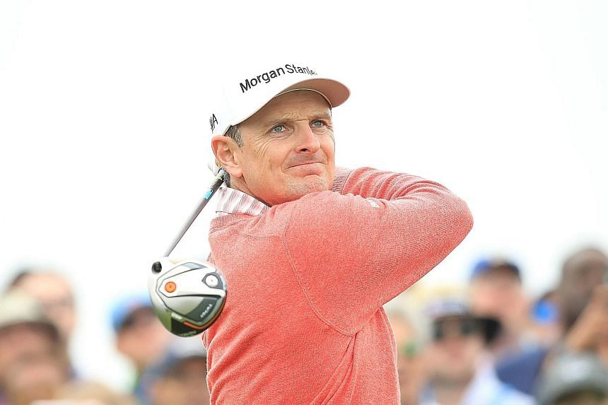 Justin Rose (on the ninth tee on Thursday) puts himself in position for a second US Open title after his 2013 triumph at Merion.