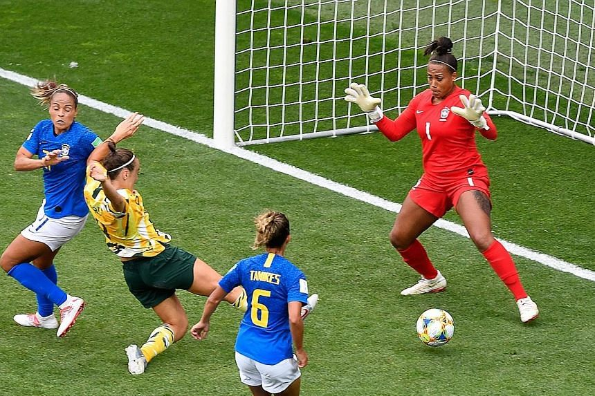 Forward Caitlin Foord reducing Australia's deficit against Brazil to 2-1 on the stroke of half-time in Montpellier on Thursday. They won 3-2 to keep their Women's World Cup last-16 hopes alive.