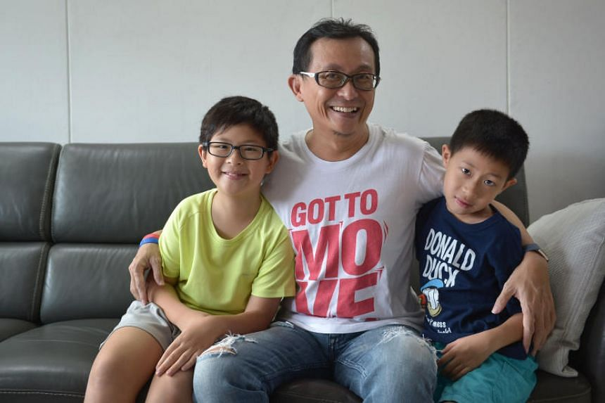 Mr Kelvin Seah decided to quit last year and work from home so he could look after his two sons, Jaedon, 10, (left) and Caleb, eight.