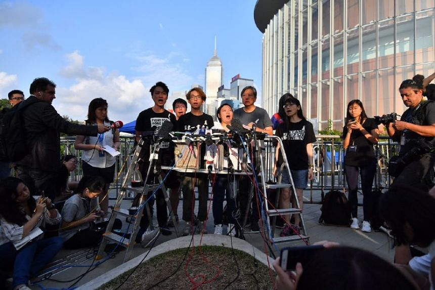 The Civil Human Rights Front holding a press conference at Tamar Park in Hong Kong on June 15, 2019.