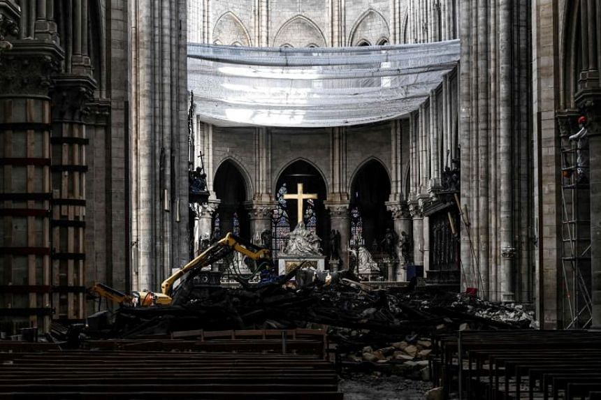 Rubble inside the Notre-Dame Cathedral in Paris on May 15, 2019, after it sustained major fire damage. Mass will be held at the cathedral on June 15, 2019, for the first time since a fire devastated the Gothic landmark two months ago.