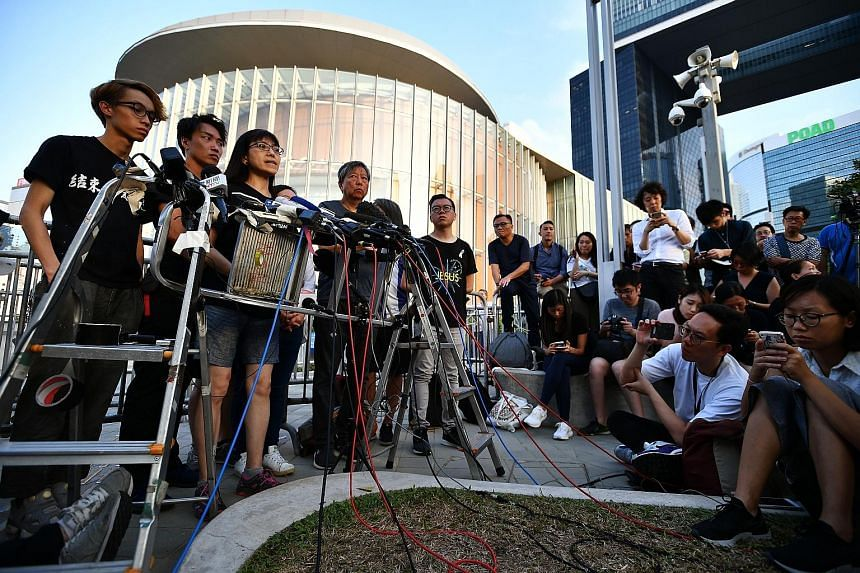 Civil Human Rights Front, a coalition comprising pro-democracy lawmakers and activists, holding a media briefing in Hong Kong yesterday.