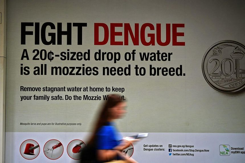 A Fight Dengue campaign poster located at the Bedok MRT station, on May 15, 2019.