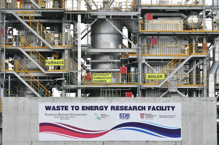 A waste-to-energy research facility in Tuas South.
