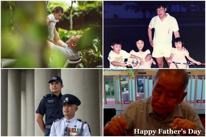Among those who marked Father's Day were (clockwise, from top left) Senior Parliamentary Secretary for Health and Home Affairs Amrin Amin, actress Rebecca Lim, Senior Parliamentary Secretary for Transport Baey Yam Keng and the Singapore Police Force.