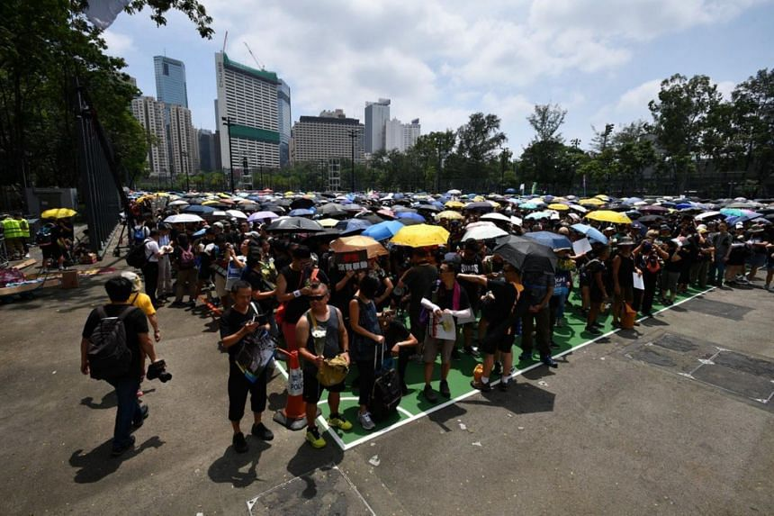 Protesters arriving at Victoria Park in Hong Kong for the start of the march, on June 16, 2019.