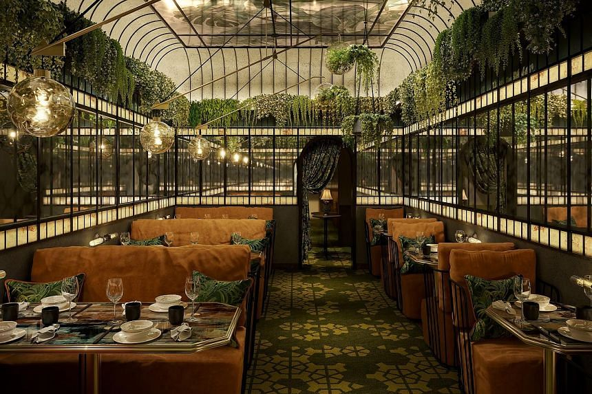 Ms Christine Kaelbel-Sheares standing on the bridge in the dining room of Koma, and an artist's impression of the dining room at Mott 32 (above).