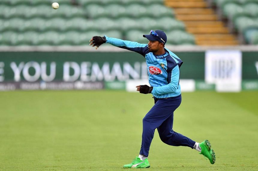 Bangladesh's Sabbir Rahman attends a training session at The County Ground in Taunton, England, on June 16, 2019.