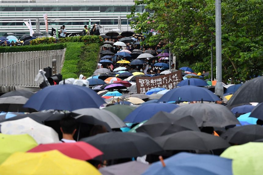 Protesters outside Hong Kong Chief Executive Carrie Lam's office in the afternoon on June 17, 2019.