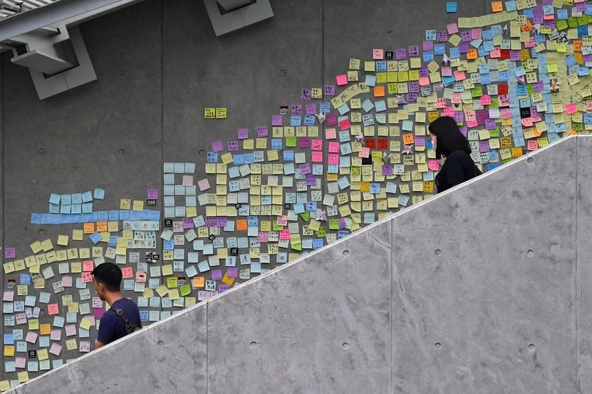 Protest notes on Lennon Wall, near Hong Kong's central government offices in Admiralty, on June 17, 2019.
