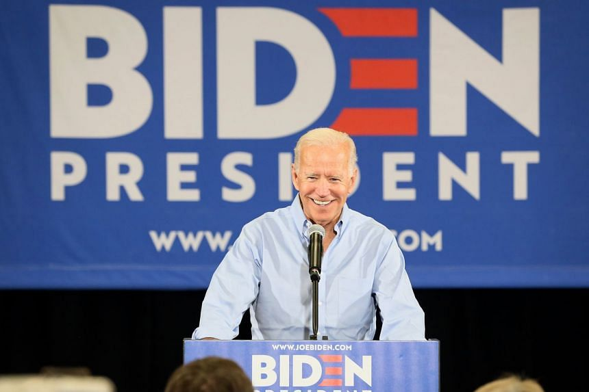 Joe Biden speaks to supporters during a campaign event in Iowa.