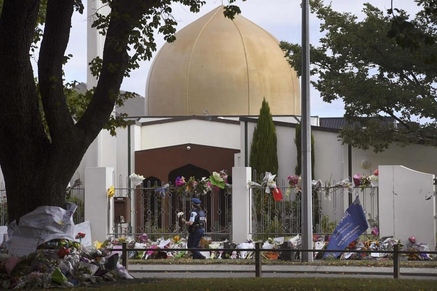 Flowers and tributes at The Al Noor mosque following the shootings in Christchurch, New Zealand, on March 22, 2019.
