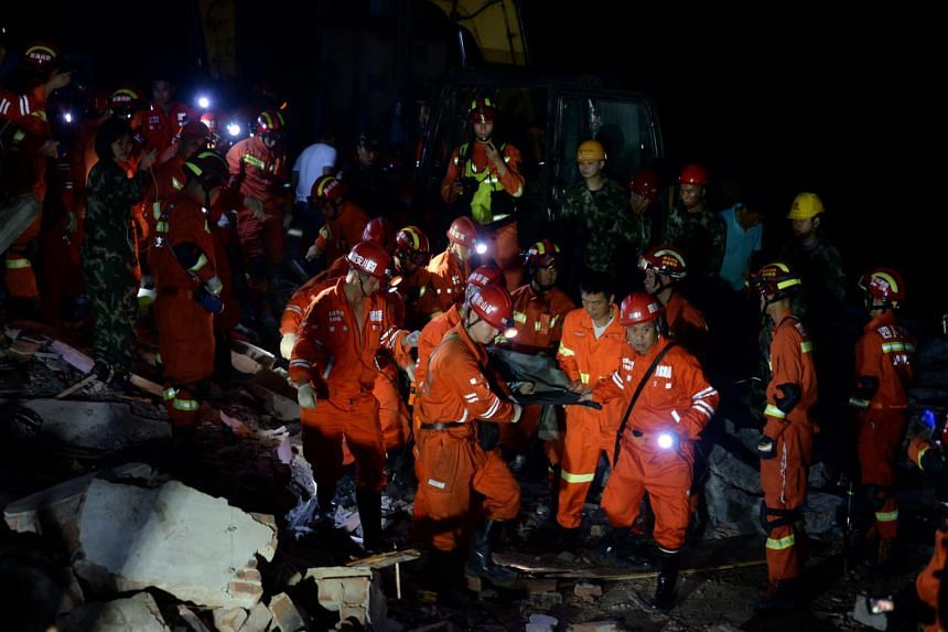 Rescuers pulled some people out of rubble alive near the epicentre, in a largely rural area, state television added.