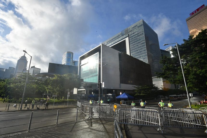 The area outside the chief executive's office building around 7am on June 18, 2019.