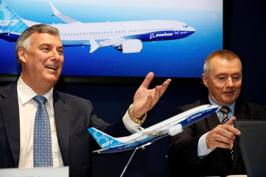 Boeing Commercial Airplanes CEO Kevin McAllister and IAG CEO Willie Walsh attend the Boeing 737 Max 8 announcement during the 53rd International Paris Air Show at Le Bourget Airport near Paris, France, on June 18, 2019.