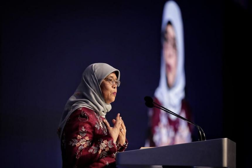 President Halimah Yacob speaking at the opening dinner of the inaugural International Conference on Cohesive Societies on June 19, 2019.