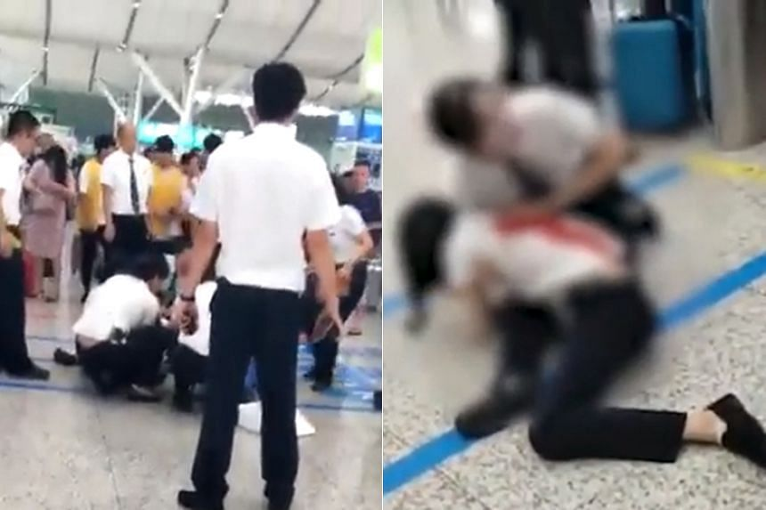 The tourist stabbed the station employee in the back at Shenzhen North Railway Station on June 18, 2019.