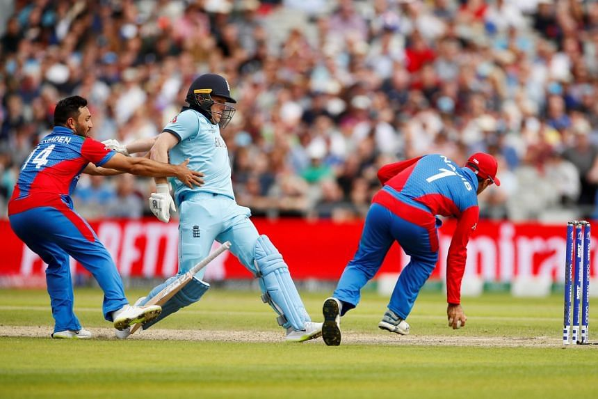 Afghanistan's captain Gulbadin Naib in action during the World Cup match against England at Manchester's Old Trafford on June 18, 2019.