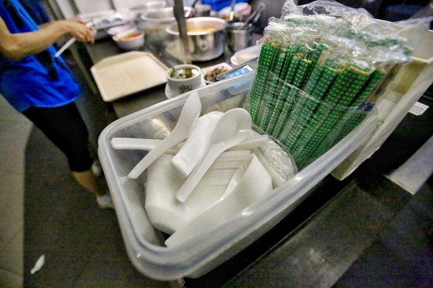 Disposable utensils at a hawker stall.
